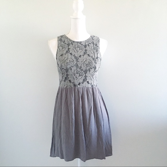 Altar'd State Dresses & Skirts - Altar'd State Gray Lace Boho Dress